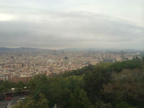 Vista do teleférico do Montjuïc