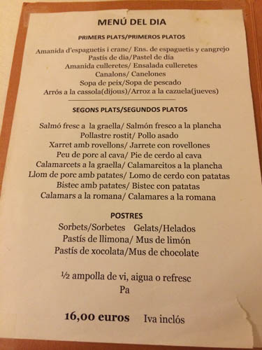 Restaurant Can Culleretes Menu
